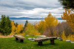 Fire pit with a view of Flathead Lake