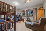 The bunk room has two Twin over Twin unique beds