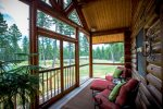 Private master suite screened porch