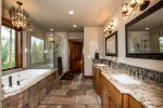 This master bathroom is so luxurious Deep bath, huge shower, his & her sinks