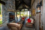 Make the most of the great outdoors on the patio with stunning fireplace