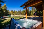 Enjoy this amazing view of the pond from the hot tub at  Retreat at the Pines