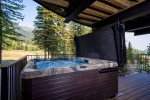 Relax with stunning views in your private hot tub on the lower patio