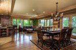 Lovely open concept with the kitchen flowing into the dining area and cozy seating area