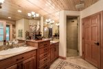 Large double vanity and separate stand up shower