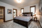 Master bedroom has a private bathroom and large walk in closet with King Bed.