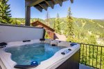 Look out to the slopes from the hot tub
