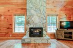 Beautiful gas log fireplace for cold days