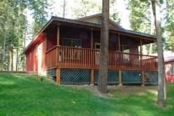Beautiful cabin with wood floors throughout and open floor plan