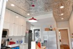 Tin ceilings harken to the time when the home was built