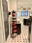 Chalkboard wall is a fun feature for recipe sharing and grocery lists