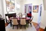 Eye catching artwork and awesome light fixtures make our house a designers dream