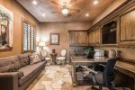 Family Room Has Billiard Table, TV, Gas Fireplace & Opens to Backyard