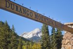 Main entrance and Engineer Mountain view at Durango Colorado vacation rental condo at Purgatory Resort