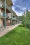 Back lawn in summer at Durango Colorado vacation rental condo at Purgatory Resort