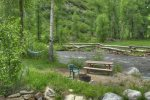 Durango Colorado waterfront vacation rental cabin river pond fly fishing canoe Hesperus CO river island w picnic table and fire pit