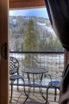 Private bedroom balcony at Durango Colorado vacation rental condo Black Bear Townhomes Purgatory Resort