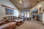 Durango Colorado vacation rental condo at Needles Townhomes near Purgatory Resort living room w fireplace