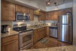 Kitchen with modern appliances at Durango Colorado vacation rental condo at Needles Townhomes near Purgatory Resort