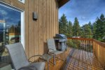 Deck w gas grill and outdoor seating at Durango Colorado vacation rental home known as Cliff View House