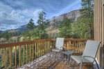 Cliff view and mountain view form deck at Durango Colorado vacation rental home known as Cliff View House