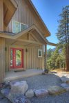 Durango Colorado vacation rental home known as Cliff View House front entrance and red door
