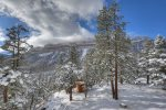 Winter snow scenes at Durango Colorado vacation rental home known as Cliff View House