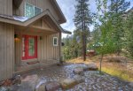 Front entrance and red door at Durango Colorado vacation rental home known as Cliff View House