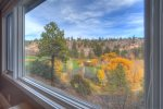 View of golf course from Tamarron Lodge vacation rental condo Durango Colorado