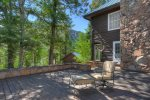 Main deck surrounded by forest w views at Durango Colorado vacation rental mountain home near Purgatory Resort known as Eagles Nest