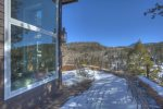 Durango Colorado vacation rental mountain home near Purgatory Resort known as Eagles Nest deck in winter snow