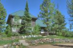 Durango Colorado vacation rental mountain home near Purgatory Resort known as Eagles Nest front of large alpine cabin