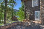 Deck surrounding house at Durango Colorado vacation rental mountain home near Purgatory Resort known as Eagles Nest