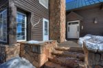Durango Colorado vacation rental mountain home near Purgatory Resort known as Eagles Nest main deck in winter snow