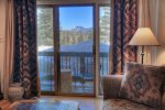 Mountain views from living room patio of Durango Colorado vacation rental home at Silverpick Condominiums