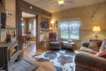 Durango Hesperus Colorado vacation rental Cranberry Cottage Riverside Cabin den w fireplace