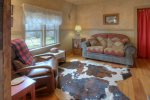 Durango Hesperus Colorado vacation rental Cranberry Cottage Riverside Cabin living room wi fireplace