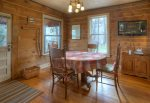 Dining room in Durango Hesperus Colorado vacation rental Cranberry Cottage Riverside Cabin