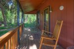 Front porch of Durango Hesperus Colorado vacation rental Cranberry Cottage Riverside Cabin