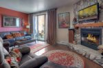 Durango Colorado vacation rental condo at Silverpick near Purgatory Resort living room w fireplace