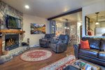 Living room w mountain views at Durango Colorado vacation rental condo at Silverpick near Purgatory Resort