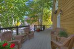 Outdoor seating on side deck of O`Reilly Inn bed and breakfast vacation rental home in Durango Colorado