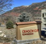 Vacation rental in Durango Colorado Crimson Cliff Townhomes entrance to Crimson Cliff