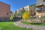Vacation rental townhome in Durango Colorado garden lawn area
