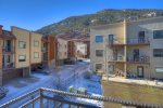 View from master bedroom balcony at Durango Colorado vacation rental townhome