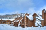 Winter snow Cozy condo vacation rental at Cascade Village near Purgatory Resort Durango Colorado