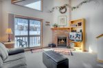 Living room with fireplace at Durango Colorado vacation rental ski condo at Cascade Village near Purgatory Resort