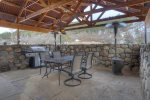 Dining patio at Durango Colorado vacation rental cabin home Durango Rock House