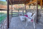 Covered patio in fenced yard dog run at Pet friendly vacation rental home in Durango CO