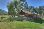 Dog run and fenced yard at pet friendly vacation rental in Durango Colorado
